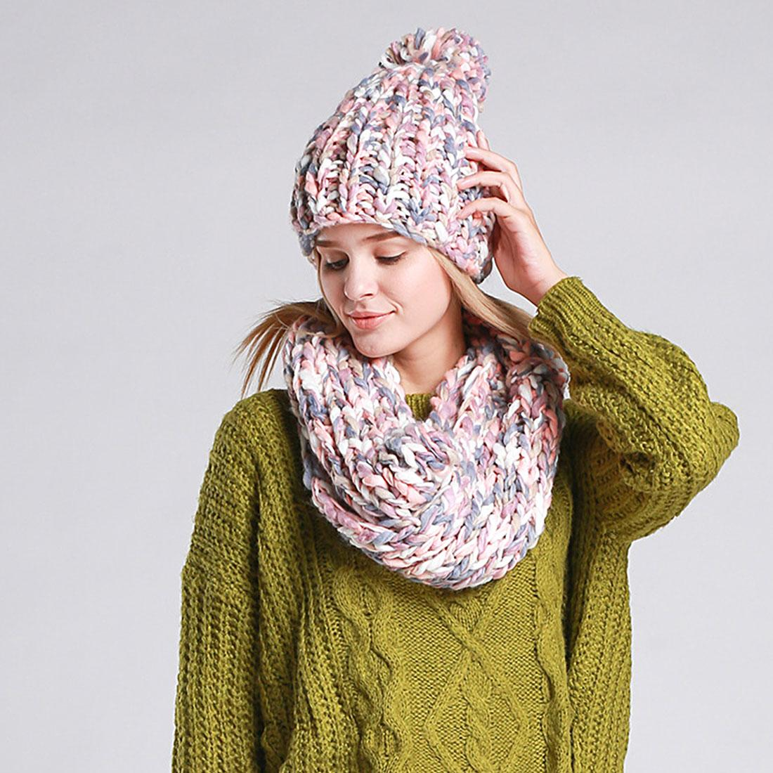 Charming Knit Winter Warm Hat And Scarf Set For Women Girl Beanies Thick  Female Bonnet Scarf Set Women Snood Knit Hat Hats And Caps From Jutie 7305d0630d9