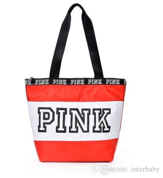 Pink Letter Handbags Pink Travel Duffle Bags Designer Beach Bag Hot Shopping Bags Fashion Floral Purses Printed Folding Shoulder Bags LD30