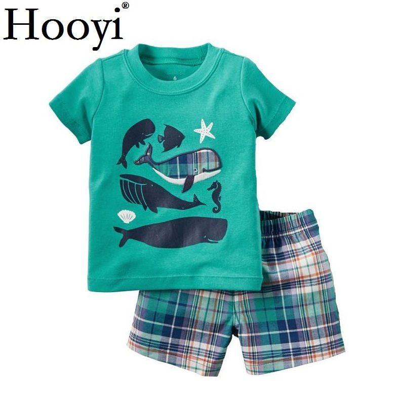 Marine Whale Baby 2 Pieces Clothes Suit Newborn Clothing Sets Infant Ocean T Shirt Shorts Pant Boys Outfit 6 9 12 18 24 Month