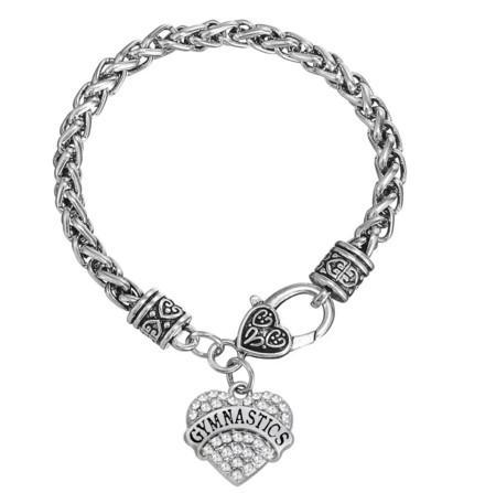 Graver Lettre GYMNASTIQUE Boucles d'oreilles Bracelet Pendentif Colliers Pendentif Charmes Bijoux