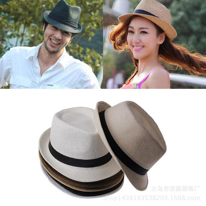 1c829deed Fashion Summer Straw Women s Sun Hats Fedora Trilby Gangster Cap Summer  Beach Sun Straw Panama Hat with Ribbow Band Sunhat