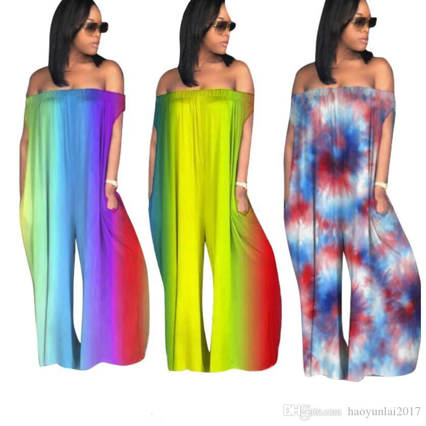 49cafa2b9695 2019 Plus Size Rompers Womens Jumpsuit Casual Loose Pants Overalls Club  Ladies Backless Off Shoulder Tie Dye Sexy Jumpsuits From Haoyunlai2017