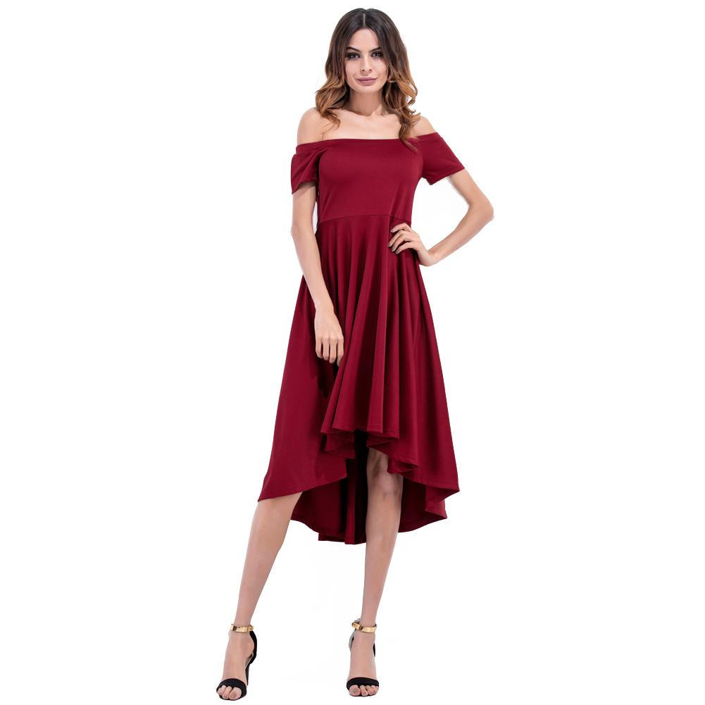 5e91930d78db Acquista Donna Off Spalla Abito Nero Slash Neck A Vita Alta Asimmetrico A  Line Dress Elegante Evening Party Clubwear One Piece A  41.88 Dal Qinfeng07  ...