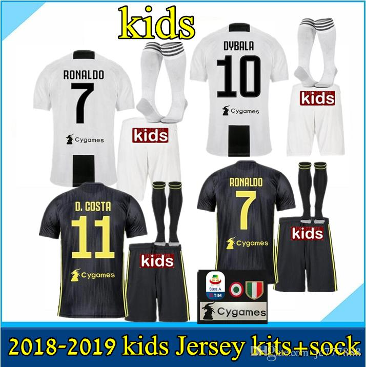 2019 KIDS KIT+SOCKS 18 19 Juventus 3RD Soccer Jersey 2018 2019 Juve HOME  RONALDO HIGUAIN DYBALA D.Costa MANDZUKIC Football Maillot Football Shirt  From ... def0dd53a
