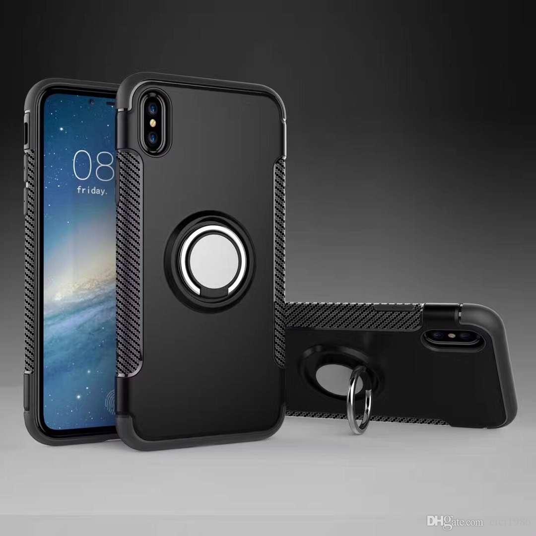 링 iPhone11 프로 최대의 X R 7/8 pluus S9 S10 note10를 들어 홀더 자석 뒤 표지 스탠드 360 하이브리드 TPU + PC 2에서 1 갑옷 케이스 충격 증거 케이스