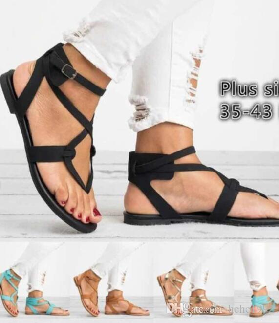145281751d746 2018 Summer Lace Pin Sandals Large Size Women s Shoes Large Size Beach  Sandals Flat Online with  35.69 Pair on Hehe1992 s Store