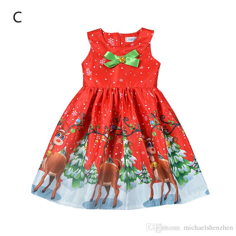 3123016706b5 2019 3 Style Girl INS Christmas Dress 2018 New Kids Fashion Santa Claus  Snowflake Elk Cartoon Princess Sleeveless Dress Baby Clothes B001 From ...