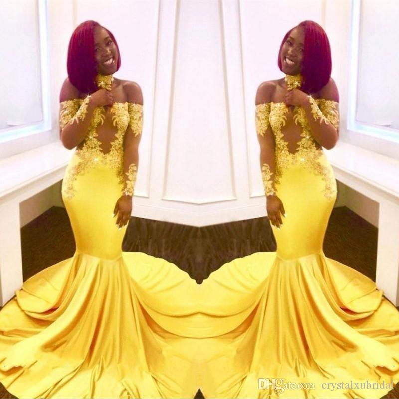 2018 Yellow Prom Dresses Mermaid Off Shoulder Illusion Lace Appliques Long Sleeves Keyhole Satin Sweep Train Plus Size Party Evening Gowns