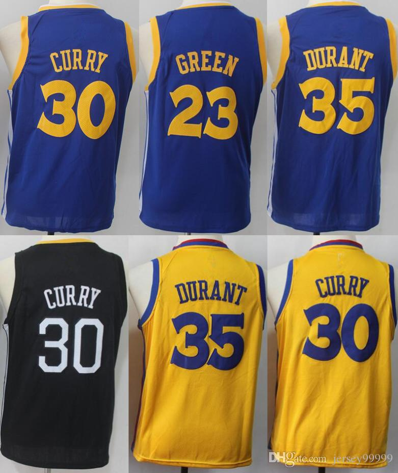 promo code cd56b 7a63a 30 Stephen Curry Warriors Jersey 100% stitched 35 Kevin Durant 23 Draymond  Green 11 Klay Thompson Youth Kids Jerseys
