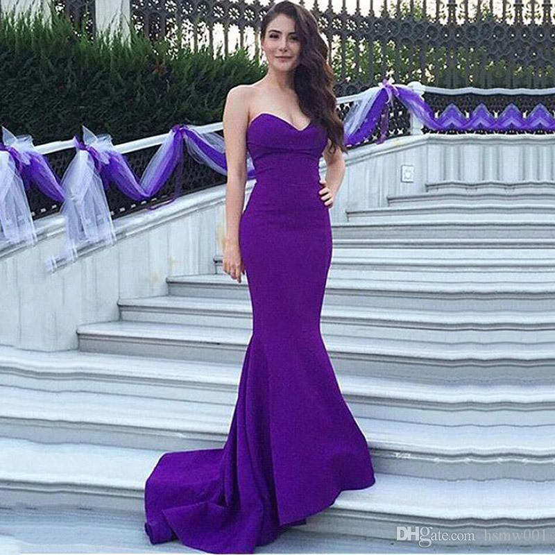 Modest Acetate Satin Sweetheart Neckline Mermaid Evening Dresses Charming Purple sheath Prom Party Dresses Custom Made Formal Dress