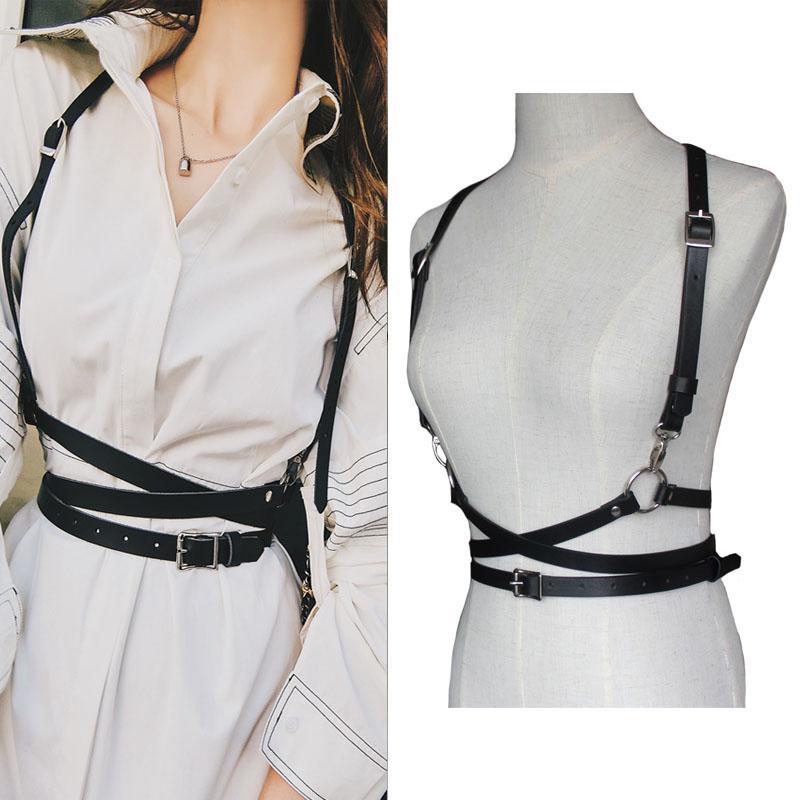 y women Leather harness belts Slim tight street strap body Casual tide