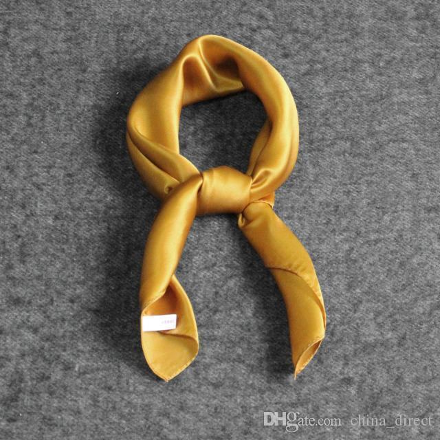 Mädchen Frauen feste Ebene 100% Maulbeersatin Seidenschal Quadrat Schals Halstücher Geschenk Zubehör 53 * 53 cm 10 Farben # 4083