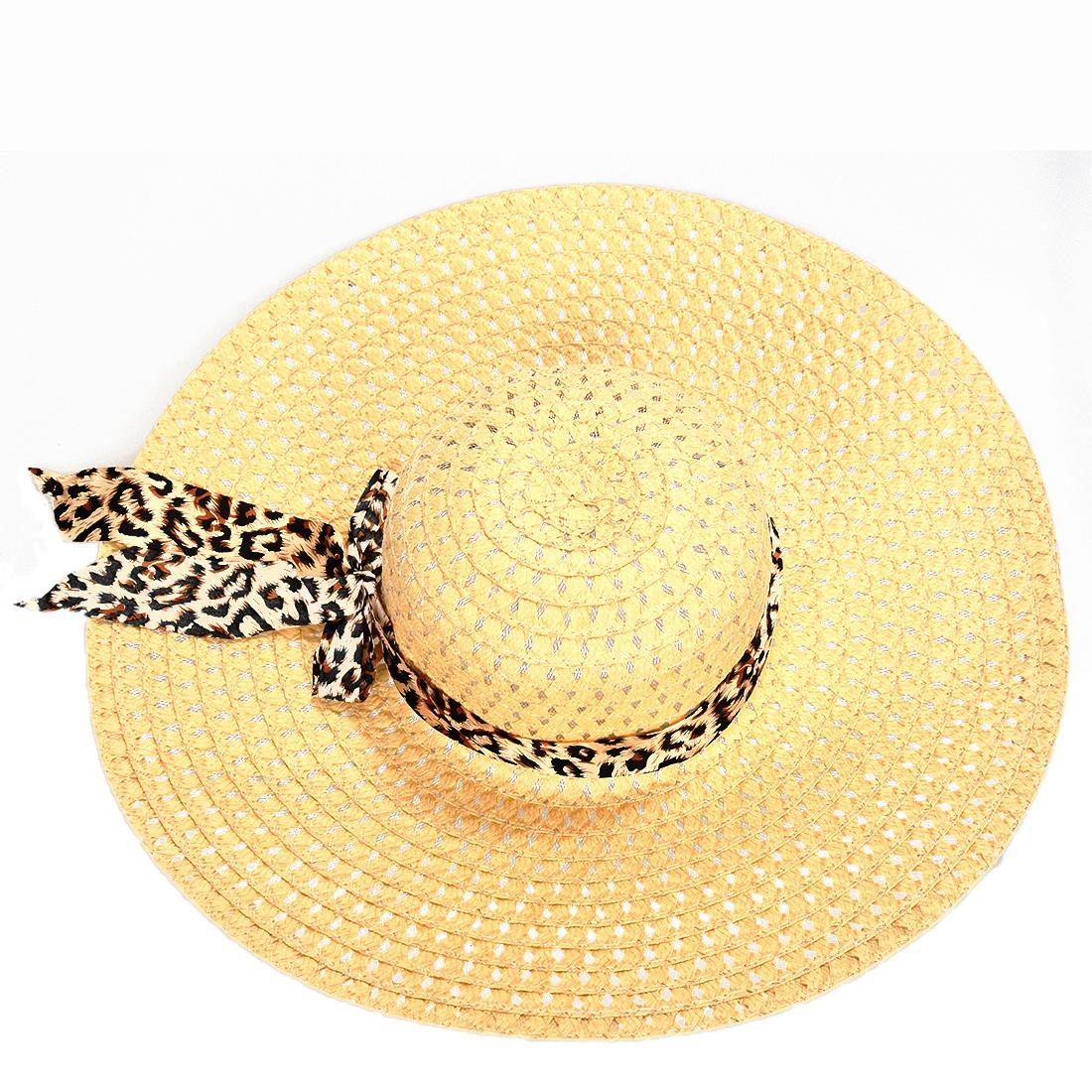 Compre Caliente NUEVO Sombreros De Paja De Verano Exquisito Leopard Ribbon  Bowknot Decorado Calado Sombrero De Sol Para Las Mujeres A  22.92 Del Tonic  ... d74be64fc390