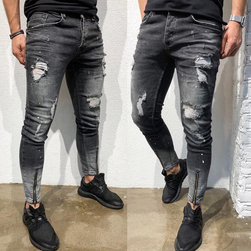 43a35497e0afa Acheter Hommes Denim Noir Jeans Slim Déchiré Trou Jeans Mode Hip Hop ...