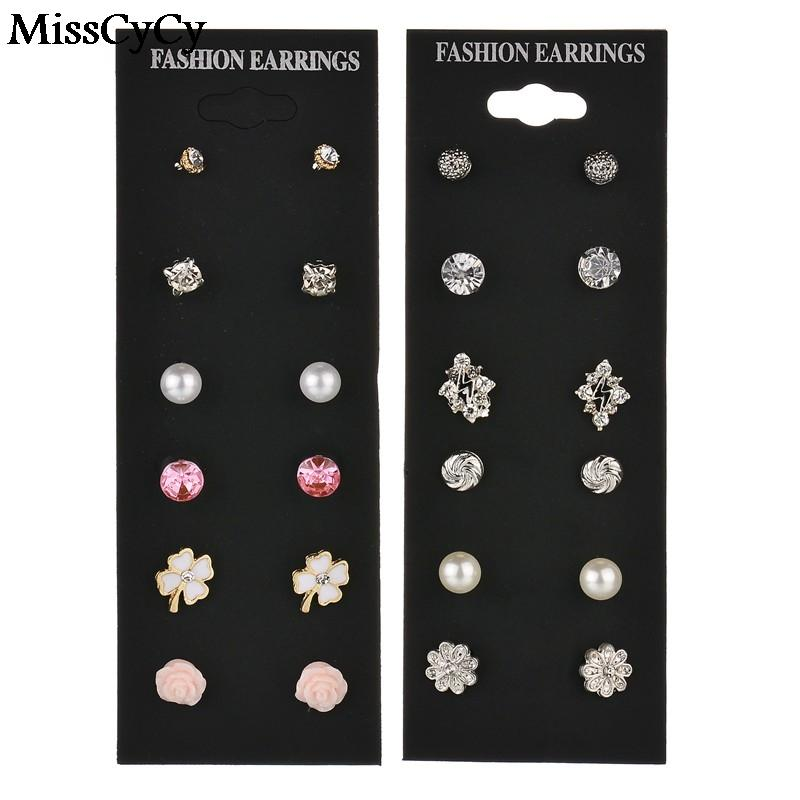ab593a8a74 MissCyCy 6 Pairs/Lot Mixed Multi Stud Earrings Rhinestone Lightning Bow  Flower Earrings For Women Vintage Jewelry Wholesale