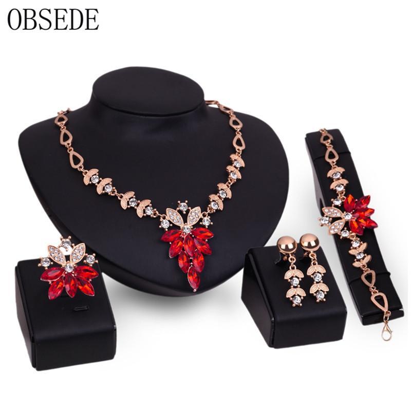 OBSEDE Vintage de Cristal Flor Nupcial Conjuntos de Joyas Collar Europeo Pulsera Pendientes Anillos para Mujeres Regalos de Boda 2018