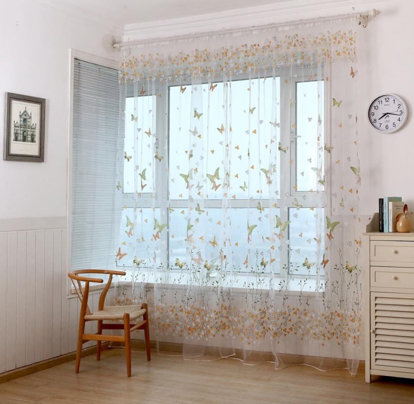 Best Modern Foral Tulle Curtains For Living Room Butterfly Window Screens  Door Balcony Curtain Panel Sheer Cover Hot Window Treatment Under $26.42 |  Dhgate.