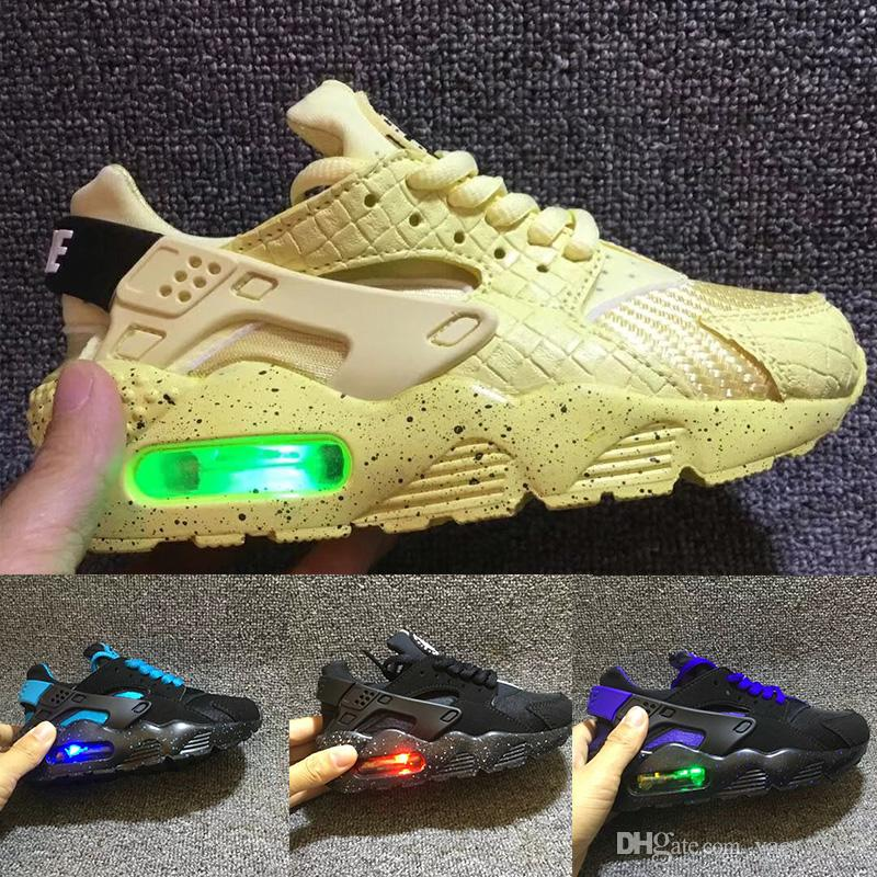 watch c0a78 e8e7d Flash Light Air Huarache Kids 2018 New Running Shoes Infant Run Children  sports shoe outdoor luxry Tennis huaraches Trainers Kid Sneakers