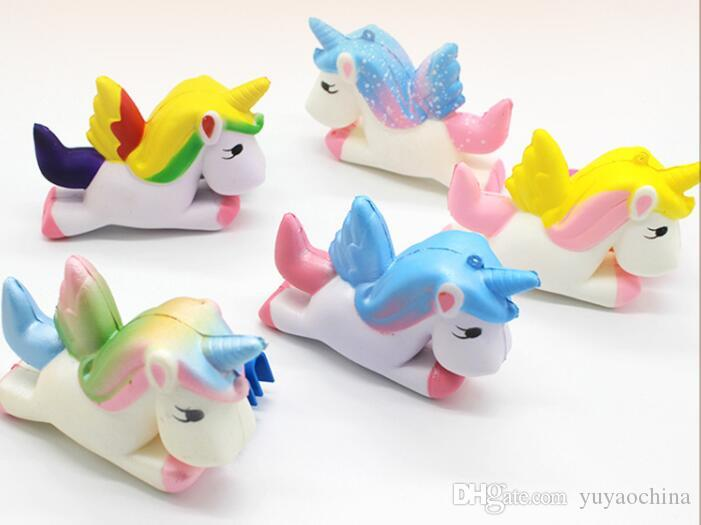 New Colors Squishy Pegasus Unicorn Jumbo Cartoon Slow Rebound Rising Super Soft Simulation Squeeze Stress Reliever Decompression Toy AAA166