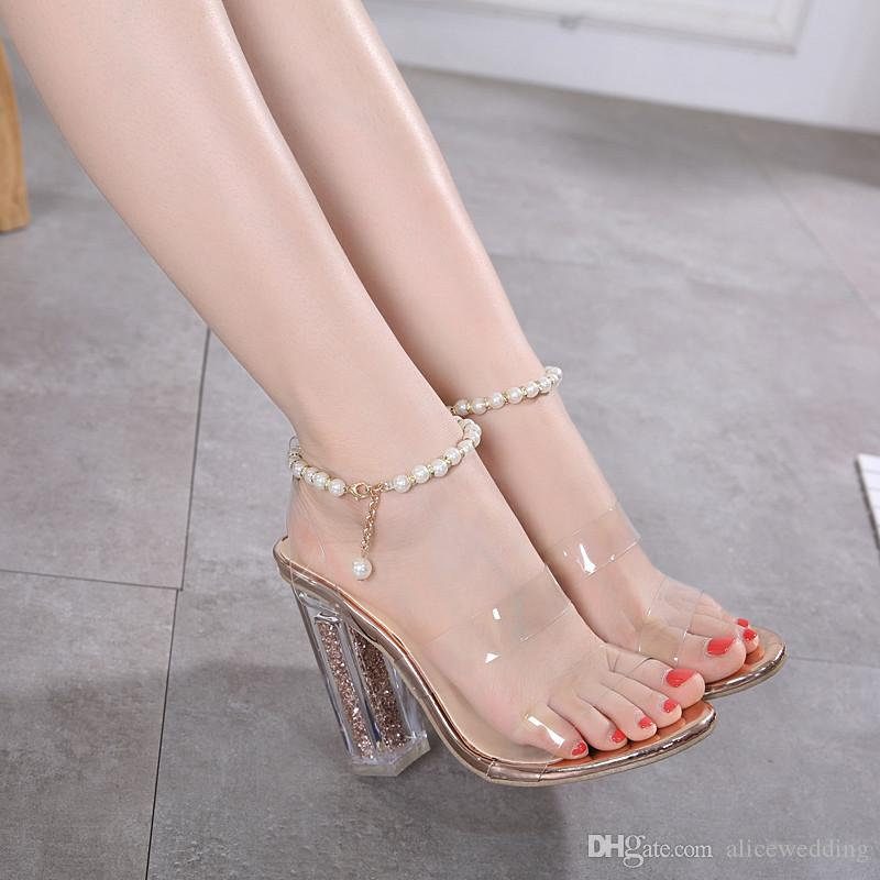 2241885f07546 New Fashionl Women High Heel Pumps Open Toe Roman Style Pearl Chain  Transparent Catwalk Show Style Sandals Sexy Lady Party Shoes Plus Size  Wedge Shoes ...