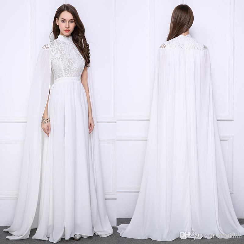 Acquista JaneVini Arabia Saudita Abiti Da Sera Lunghi Con Mantella Collo  Alto Abiti Da Sera Musulmani Pizzo Bianco Chiffon Arabo Wrap Formal Party  Dress ... 95098842970