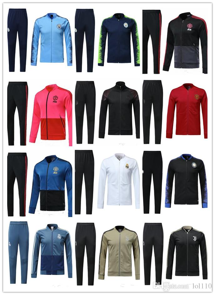 47ab2a1437a 2019 18 19 Real Madrid Long Sleeve Jacket Suit Have Inter Soccer Jersey Man  Utd Messi White Training Uniform 2018 Black Football Uniform Jacket From  Lol110