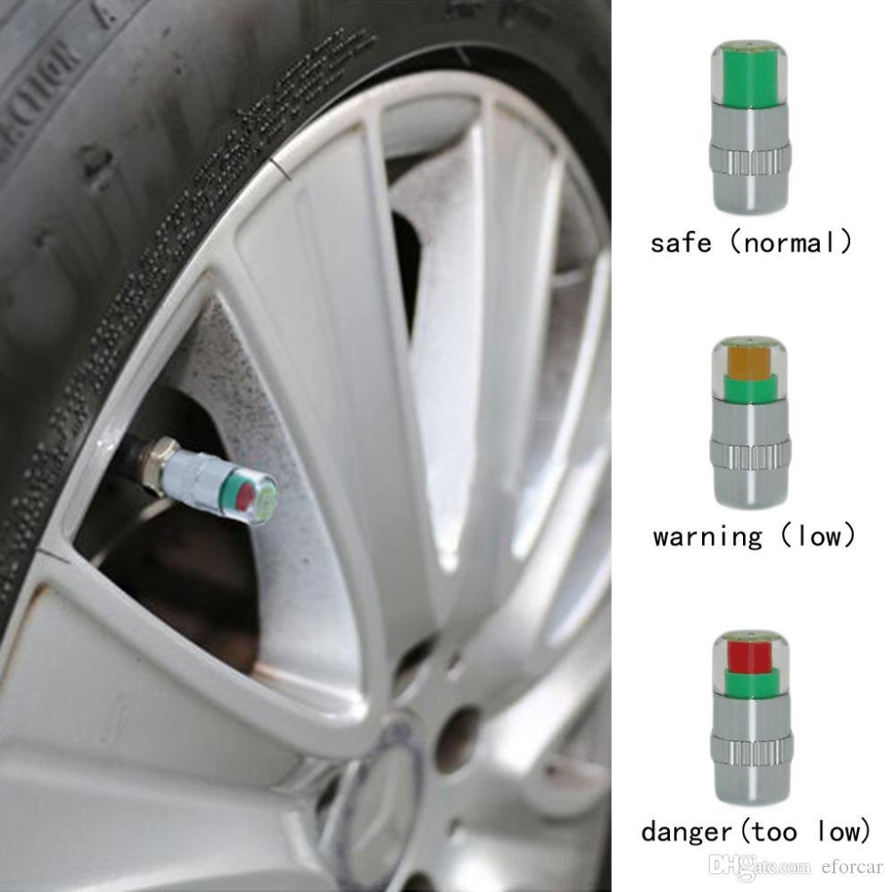 4 Unids / set Neumático de automóvil Indicador de alerta de presión de aire Válvula de automóvil Sensor de monitor de vástago Tapas Neumático de automóvil 2.2 Bar 32PSI o 2.4 Bar 36PSI
