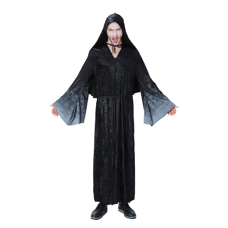 Halloween Costumes Scary Men.Adult Men Halloween Black Gothic Costume Scary Skeleto Wicca Cosplay Vampire Wizard Long Hoodie Robe Gown Joker Outfit Plus Size