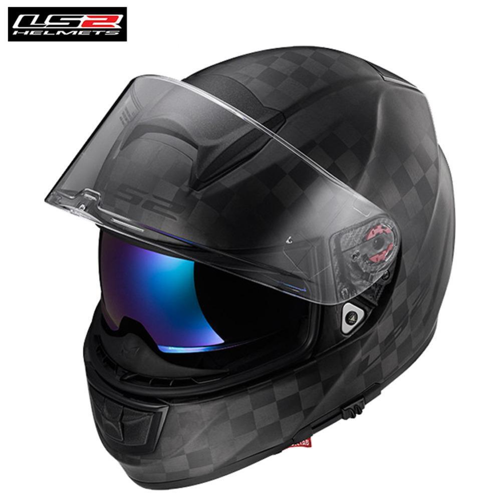 Ls2 Carbon Fiber Racing Full Face Motorcycle Helmet Casco Capacete