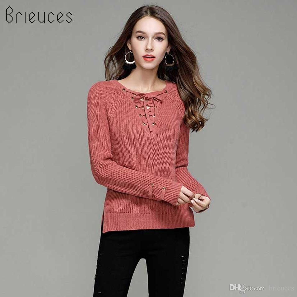 f014dfbed06 2019 Brieuces Knitted Winter Sweater Women 2018 Jumper Women S Fashion  Novelties V Neck Pullover Sexy Casual Winter Sweater Western Style Sweater  From ...