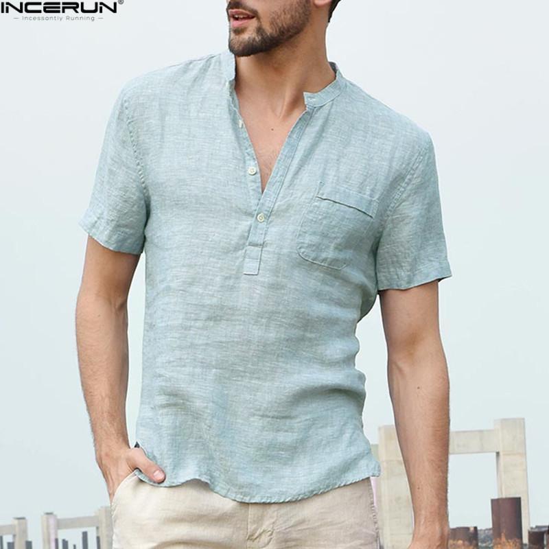 38d40dd73 2019 New Arrival Summer Short Sleeve Cotton Linen Shirt Men Brand Fashion Men  Shirts Flax Stand Collar Sky Blue Shirt Mens Chemise From Vanilla01, ...