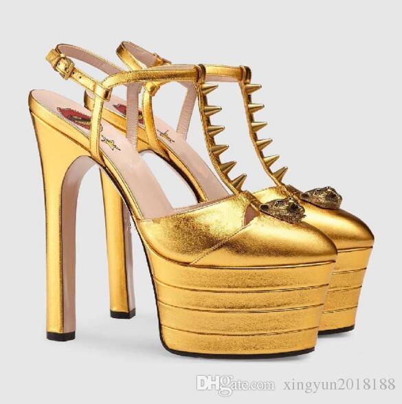 1766a256 Elegant Women Sexy Sandals Summer Stylish Women Pumps High Heels Open Toe  Multicolored Women T Strap High Platform Rivets Party Shoes Birkenstock  Sandals ...