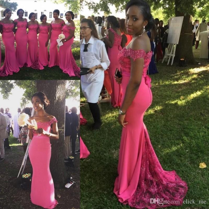 Hot Pink Plus Size Bridesmaid Dresses Off Shoulder Appliques Lace Mermaid  Maid Of Honor Wedding Guest Dress Women Wear Formal Party Dresses
