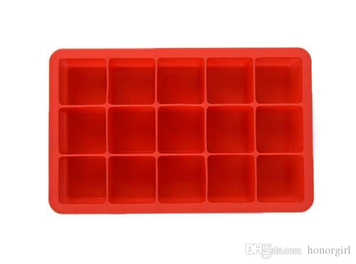 Silicone Square Ice Cube Tray Maker Mold Mould Making Candy Chocolate Baking Cake Fruit Pudding for Cocktail Cola Bar Pub Party 15 Units