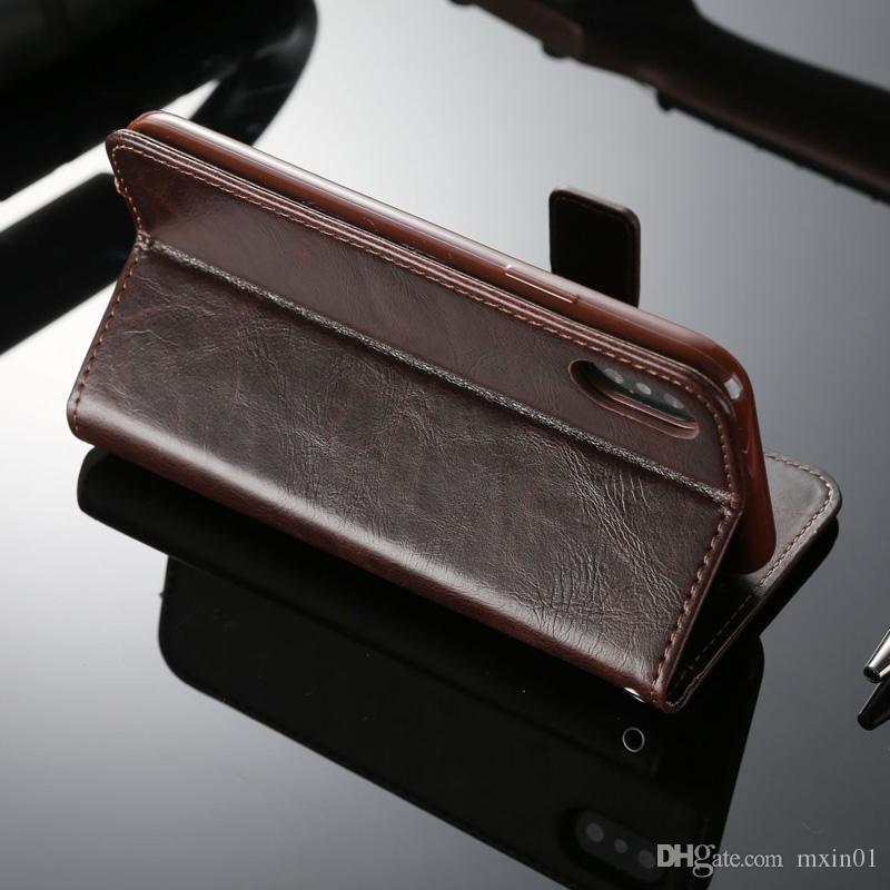 Flip Cartera PU Funda de cuero para diario para iPhone XS Max XR X 8 7 6 5 Samsung S5 S6 S7 S7 S9 Plus Edge S9 S9E Nota 9 A3 A5 A7 2017 J3 J5 J7 Pro