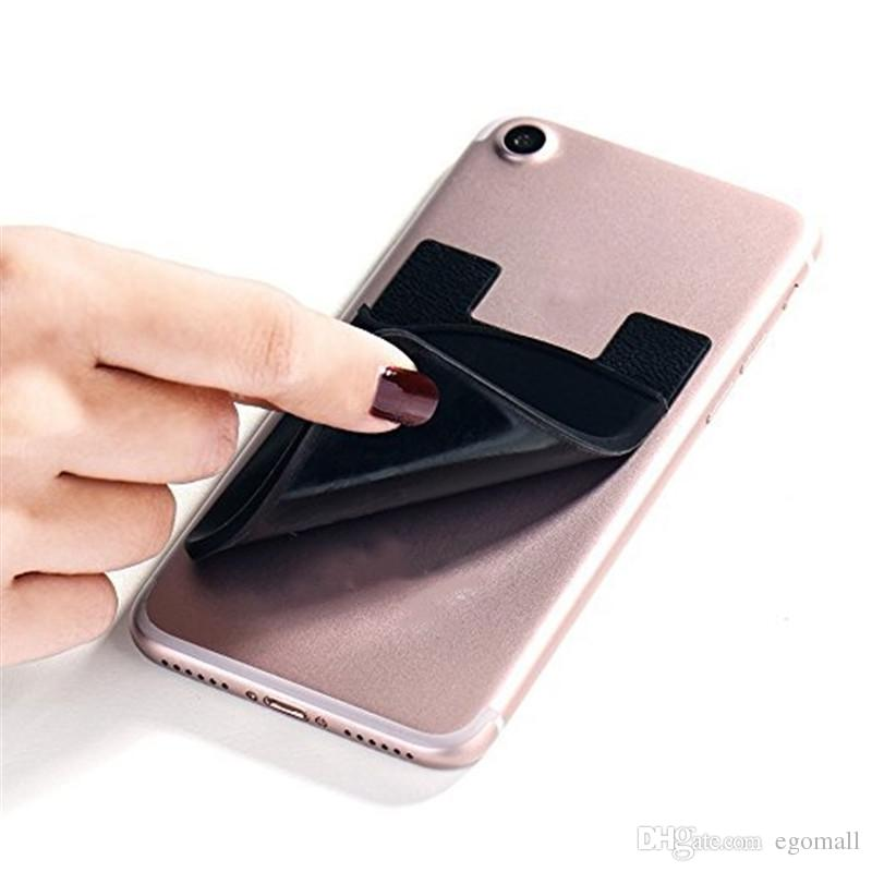 Silicone Wallet Credit ID Card Cash Pocket Sticker Adhesive Holder Pouch Mobile Phone 3M Gadget For Cable eaphone ipad iphone Samsung
