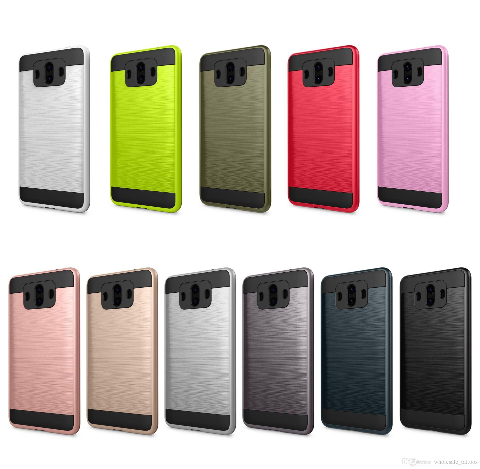 Hybrid Brushed Armor Case Soft TPU Hard PC Shockproof Cover For Huawei  Elate H1711 Mate 10 Ascend XT2 Mate 10 Pro Mate 9 Sensa LTE H715BL