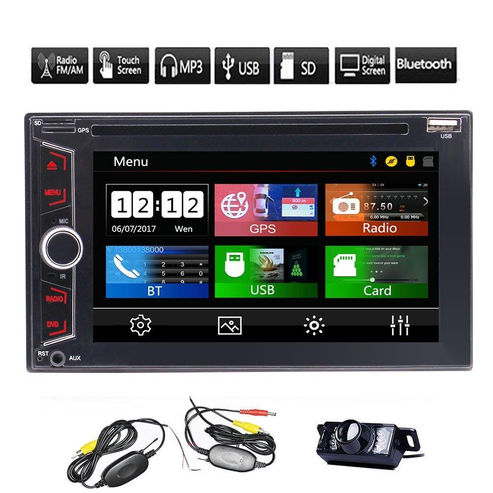 Double Din Car Stereo Car DVD CD Player GPS 6.2'' Multi-touch Screen FM AM RDS Bluetooth Remote Control Receiver+Dual SD+8GB Map Card