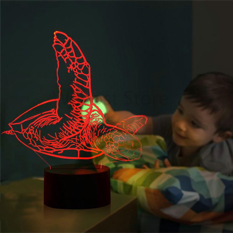 2019 Sea Animal Turtle Led Nigfht Light Changing Illusion 3d Lamp
