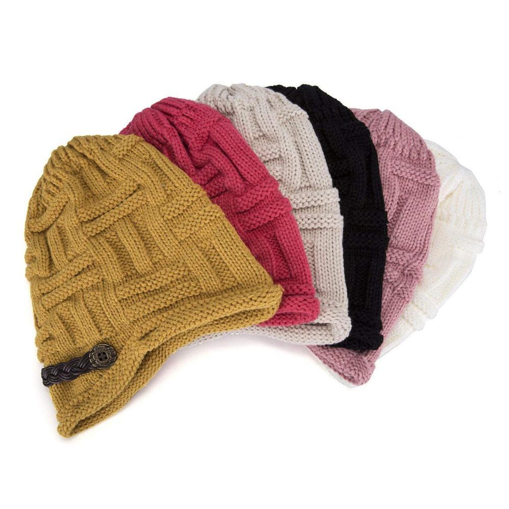 d22c814c571 Women Winter Beanie Hats Cabled Checker Pattern Knit Hat Button Strap Cap  Trucker Caps Summer Hats From Clintcapela