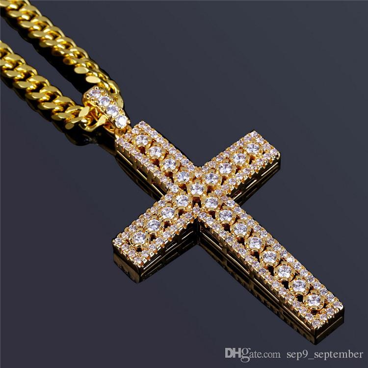 e291b1bf3a1f2 Hip Hop Jewelry Iced Out Cross Pendant Necklace For Men Gifts Gold Chain  Zircon Pendant Necklace