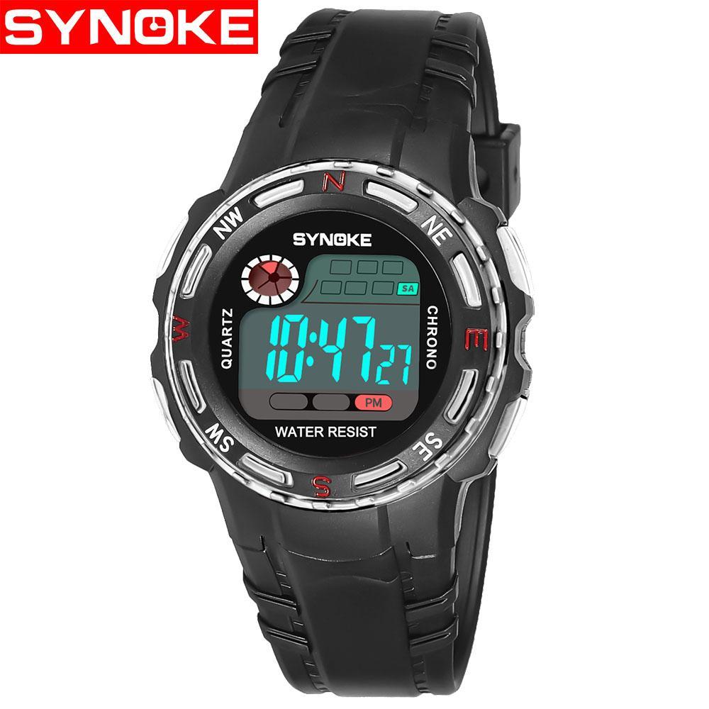 SYNOKE 99539 Children Watches Sport Digital Wristwatches Timer Alarm Chrono  Boy Girl Gift Black red Waterproof Kids Watch