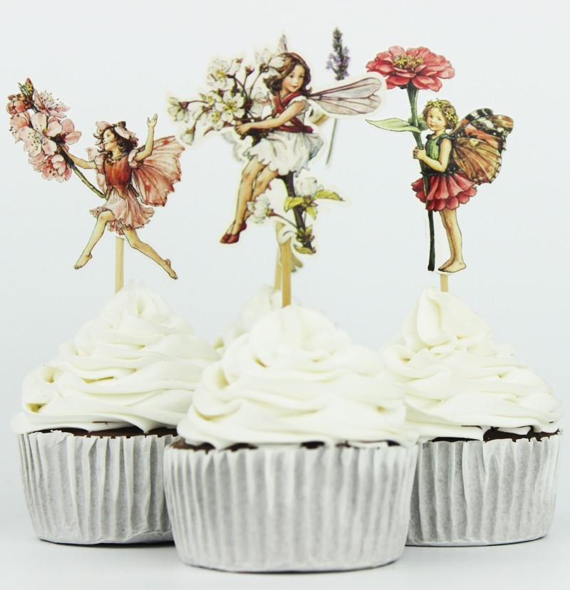 24pcs Flower Fairy Cupcake Toppers Birthday Cakes Topper Picks For Kids Party Favors Decoration Supplies