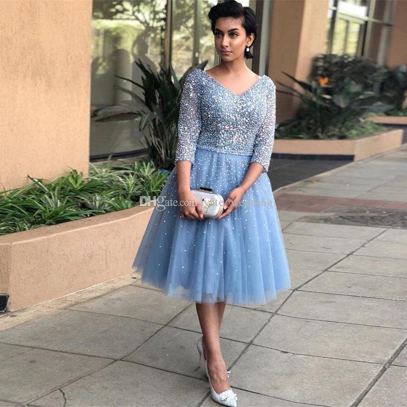 Blue Crystal Tulle Plus Size Prom Dresses V Neck 3/4 Long Sleeves Tea  Length Sparkle Party Dresses Evening Dresses Short Evening Gowns