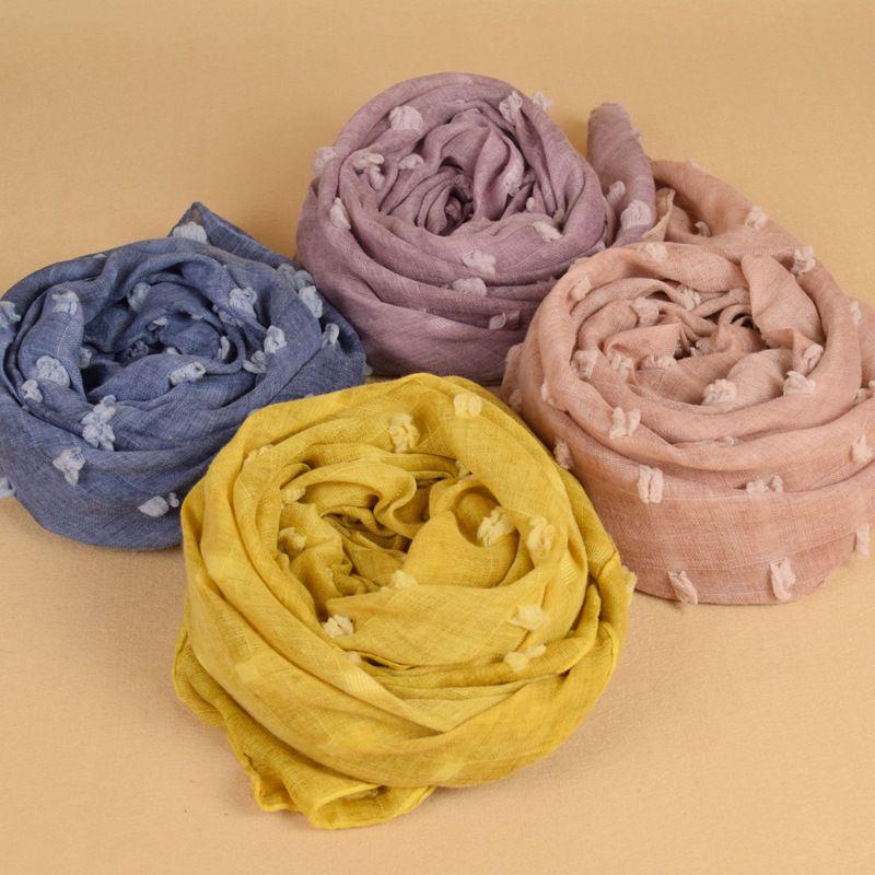 Newest fashion Women Pure Scarf Cotton&Linen Candy Color Shawl Wrap Beach Silk Scarves HeadScarf sunscreen shawl