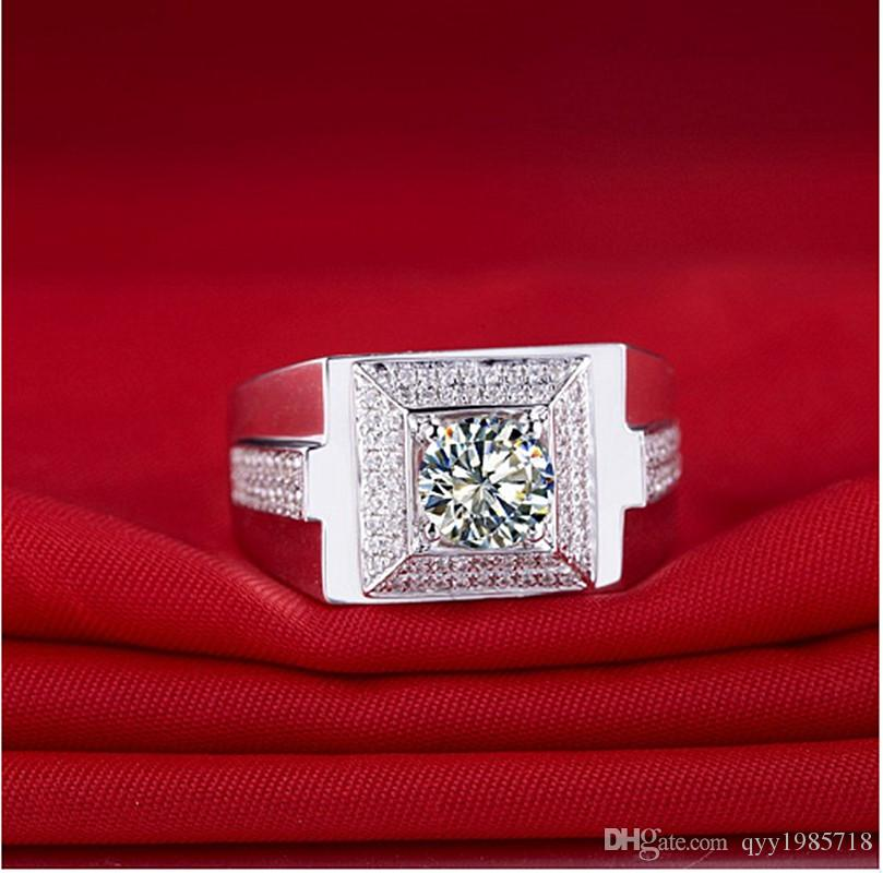 1 CT Classic Design Male Jewelry Sterling Silver Synthetic Diamonds Male Ring Solid Silver Man Wedding Ring White Gold Cover