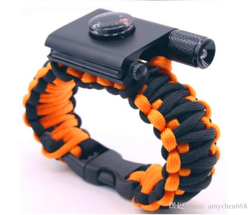New Outdoor Camping Hiking Survival Bracelet Self-rescue Paracord Parachute Cord Bracelets Survival bracelet Camping Travel Add LED