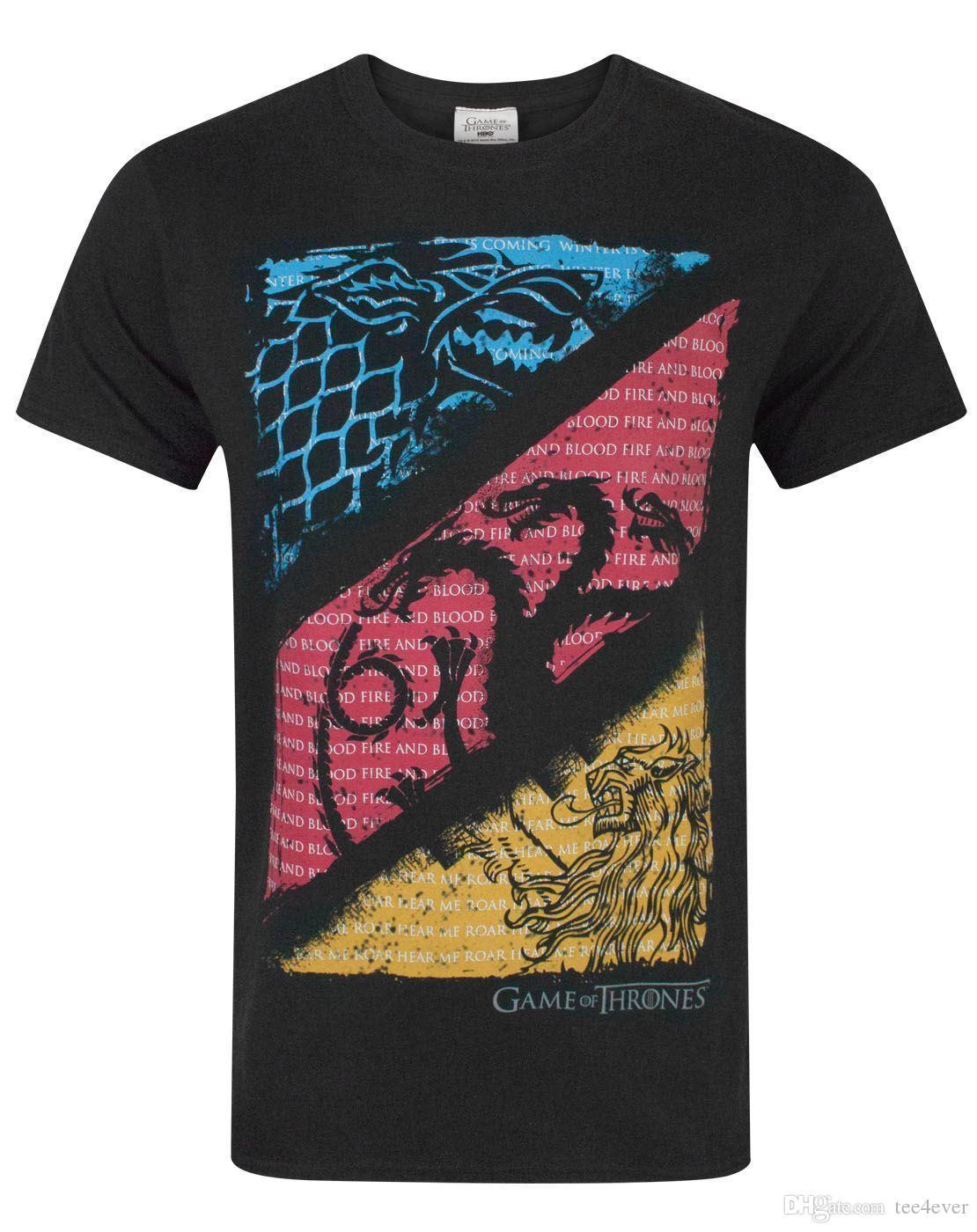 6da2343962 On Sale New Fashion Summer Game Of Thrones House Sigil Quotes Men's T-Shirt  100% Cotton Men Women T Shirt Tees Custom