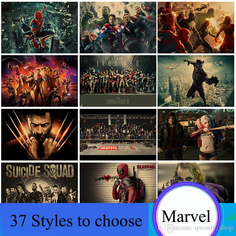 Home Decor Wall Stickers Painted Brown Vintage Paper Anime Poster Marvel Film Super Heroes Kraft Paper Posters