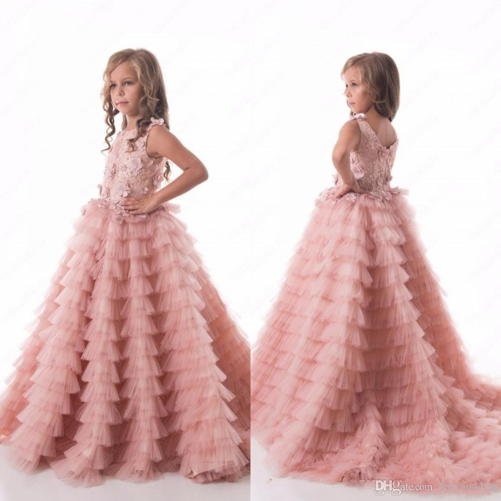 2018 New Luxurious Blush Pink Flower Girls Dresses Jewel Neck Lace